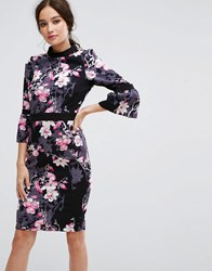 Paper Dolls Long Sleeve Pencil Dress In Floral Print Multi