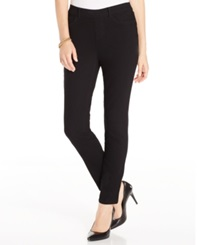Charter Club Petite Pull On Skinny Jeggings Black Wash