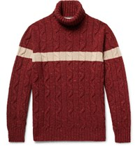 Brunello Cucinelli Cable Knit Virgin Wool Blend Rollneck Sweater Claret