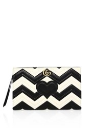 Gucci Gg Marmont Matelasse Leather Clutch Black White