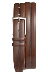 Men's Mezlan 'Diver' Leather Belt Cognac