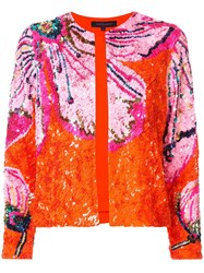 Manish Arora Floral Pattern Sequin Jacket Orange