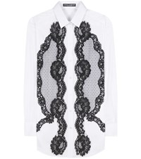 Dolce And Gabbana Lace Panelled Cotton Shirt White