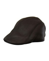 Crown Cap Leather Driver Hat Black Brown