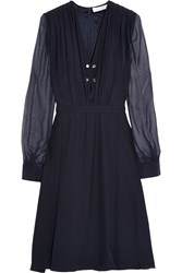 Altuzarra Chiffon Trimmed Silk Dress Blue