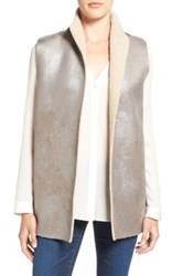 Velvet By Graham And Spencer Reversible Faux Shearling Vest Gray