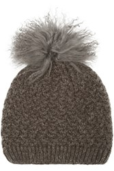 Karl By Karl Donoghue Shearling Trimmed Cable Knit Beanie Gray