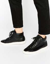 New Look Leather High Top Trainer Black