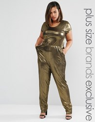 One Day Plus Metallic Cap Sleeve Jumpsuit Gold