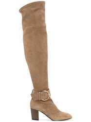 Giuseppe Zanotti Design Knee High Boots Women Leather Suede Rubber 39 Nude Neutrals