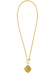 Chanel Vintage Chinoiserie Pendant Necklace Metallic