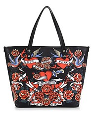 Love Moschino Hearts And Flowers Faux Leather Tote Black Multi