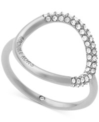 Michael Kors Pave Crystal Open Circle Statement Ring Silver