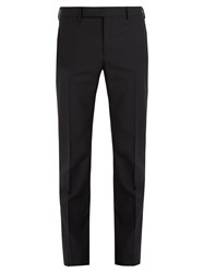 Saint Laurent Slim Leg Mohair And Wool Blend Trousers Black