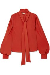 Antonio Berardi Pussy Bow Crepe Blouse Orange