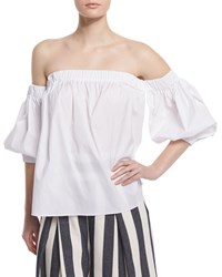 Milly Off The Shoulder Stretch Cotton Blouse White Size Medium