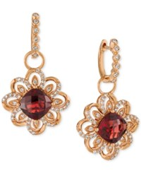 Le Vian Pomegranate Garnet 5 5 8 Ct. T.W. And Diamond 5 8 Ct. T.W. Drop Earrings In 14K Rose Gold Red
