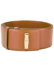 Salvatore Ferragamo Logo Plaque Waist Belt Women Leather 70 Brown