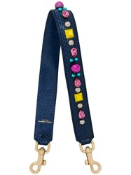 Dolce And Gabbana Embellished Snakeskin Strap Women Acrylic Ayers Snakeskin Glass One Size Blue