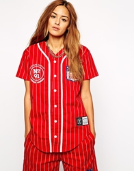 Criminal Damage Crest Button Up Mesh Baseball T Shirt With Pinstripe Red