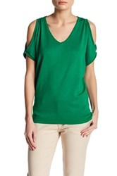 Joseph A V Neck Cold Shoulder Sweater Green