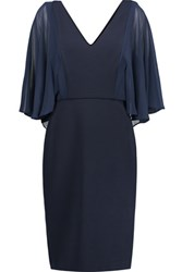 Badgley Mischka Chiffon Paneled Stretch Jersey Dress Storm Blue