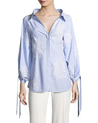 c70002a8275b0 Alice Olivia Toro Button Front Pinstriped Shirt With Embroidery Blue White