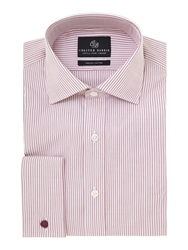 Chester Barrie James Classic Fit Striped Shirt Raspberry