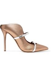 Malone Souliers Maureen 100 Metallic Leather Mules Gold