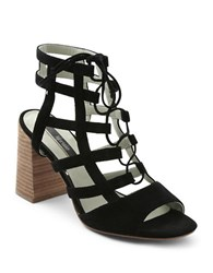 Kensie Shawna Lace Up Caged Sandals Black