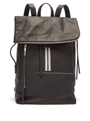 Rick Owens Fold Over Grained Leather Backpack Black