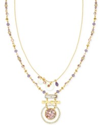 Lonna And Lilly Gold Tone Multi Bead Layer Pendant Necklace Purple