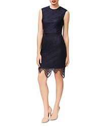 Betsey Johnson Scalloped Hem Lace Sheath Dress Navy