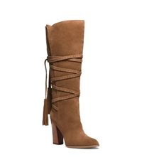 Michael Kors Jessa Lace Up Suede Boot Dark Luggage