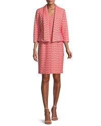 Albert Nipon Two Piece Wavy Jacquard Jacket And Dress Suit Set Pink Orange