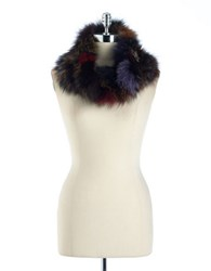 Surell Fox Fur Infinity Scarf Multi Colored