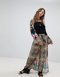 Kiss The Sky Wide Leg Trousers In Leopard Print Co Ord Multi