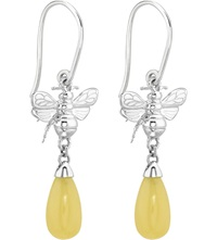 Theo Fennell Sterling Silver And Yellow Jade Earrings