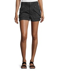 Helmut Lang Cotton Blend Buckled Mid Rise Shorts Black