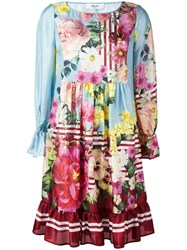 Blugirl Floral Print Flared Dress Blue
