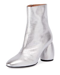 Dries Van Noten Metallic Leather Round Heel Bootie Silver