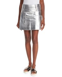Miu Miu Metallic Leather Mini Skirt Silver