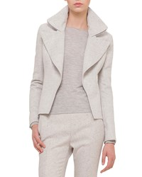 Akris Slim Fit Cashmere Jacket W Wide Zip Detail Gravel Off White