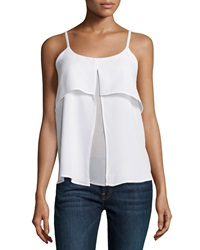 Design History Chiffon Colorblock Tank White Spa Blue