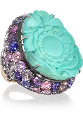 Lydia Courteille Fille Du Ciel 18 Karat Blackened White Gold Turquoise And Sapphire Ring