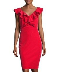 Taylor Ruffle Sleeveless Sheath Dress Red
