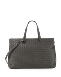 Bottega Veneta Large Double Compartment Lambskin Tote Bag Light Grey