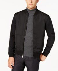 Ryan Seacrest Distinction Men's Modern Fit Stretch Mixed Media Bomber Jacket Created For Macy's Black