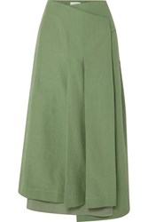 Rejina Pyo Laurie Cotton And Linen Blend And Silk Wrap Skirt Green