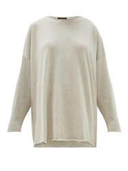 Eskandar Boat Neck Cashmere Sweater Light Grey